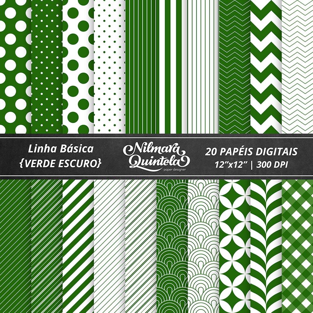 62e3f027458 Kit de Papéis Básicos – Verde Escuro – Nilmara Quintela Paper Designer.
