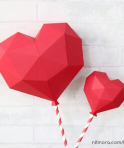 Arquivo de corte Silhouette balão coração low poly
