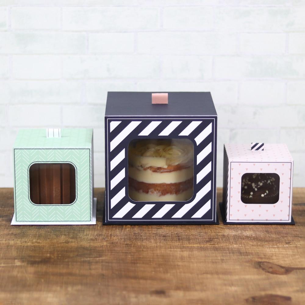 Kit de Caixas com visor para Bolo Mini bolo e Cupcake