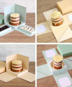 Combo caixa explosão e cenário para bolo e bolo com doce