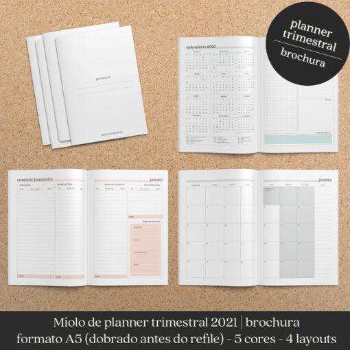 Miolo trimestral planner datado brochura Nilmara Quintela